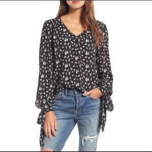Hinge | Floral Black and White Tie Sleeve Blouse
